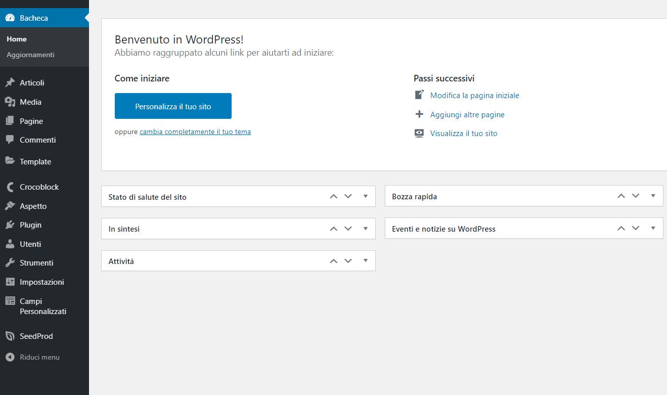 schermata esempio backend wordpress