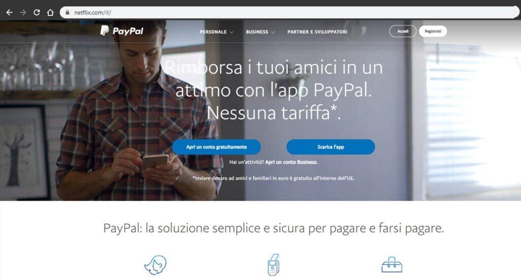 paypal homepage screenshot